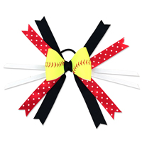 Handmade Softball Hair Bow made from real softball leather_THUMBNAIL
