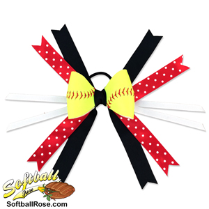Softball Hair Bow - Black Red Polka Dot MAIN