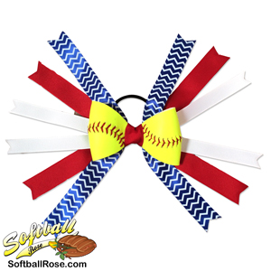 Softball Hair Bow -Red Blue White Chevrons MAIN