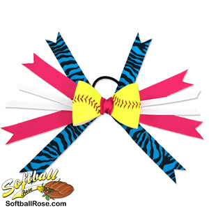 Softball Hair Bow - Pink Turquoise Zebra MAIN