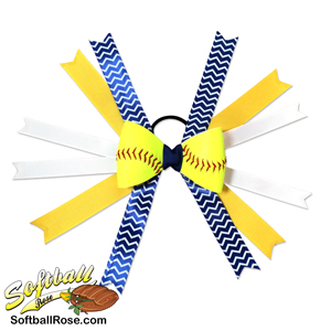 Softball Hair Bow - Yellow Blue White Chevrons MAIN