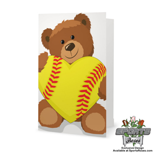 Softball Heart Bear Greeting Card_MAIN