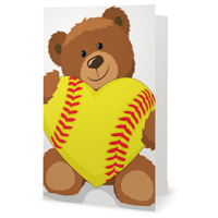Softball Heart Bear Greeting Card THUMBNAIL