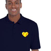Softball Heart Men's Polo Shirt THUMBNAIL