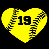 Softball Heart Decal with Personalized Player Number THUMBNAIL