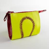 Premium Leather Softball Themed Coin Purse THUMBNAIL