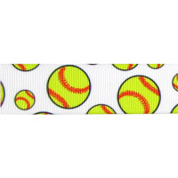 Softball Ribbon 7/8 inch grosgrain THUMBNAIL