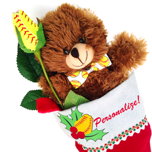 Softball Rose Christmas Stocking Stuffer Gift Set MAIN