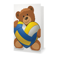 Valentine's Day Softball Heart Bear Greeting Card THUMBNAIL