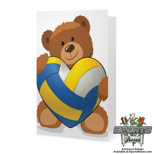 Valentine's Day Softball Heart Bear Greeting Card MAIN
