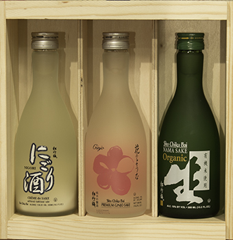 """SHO CHIKU BAI 300ml Sampler"" > SAKE SET C in wood box_MAIN"