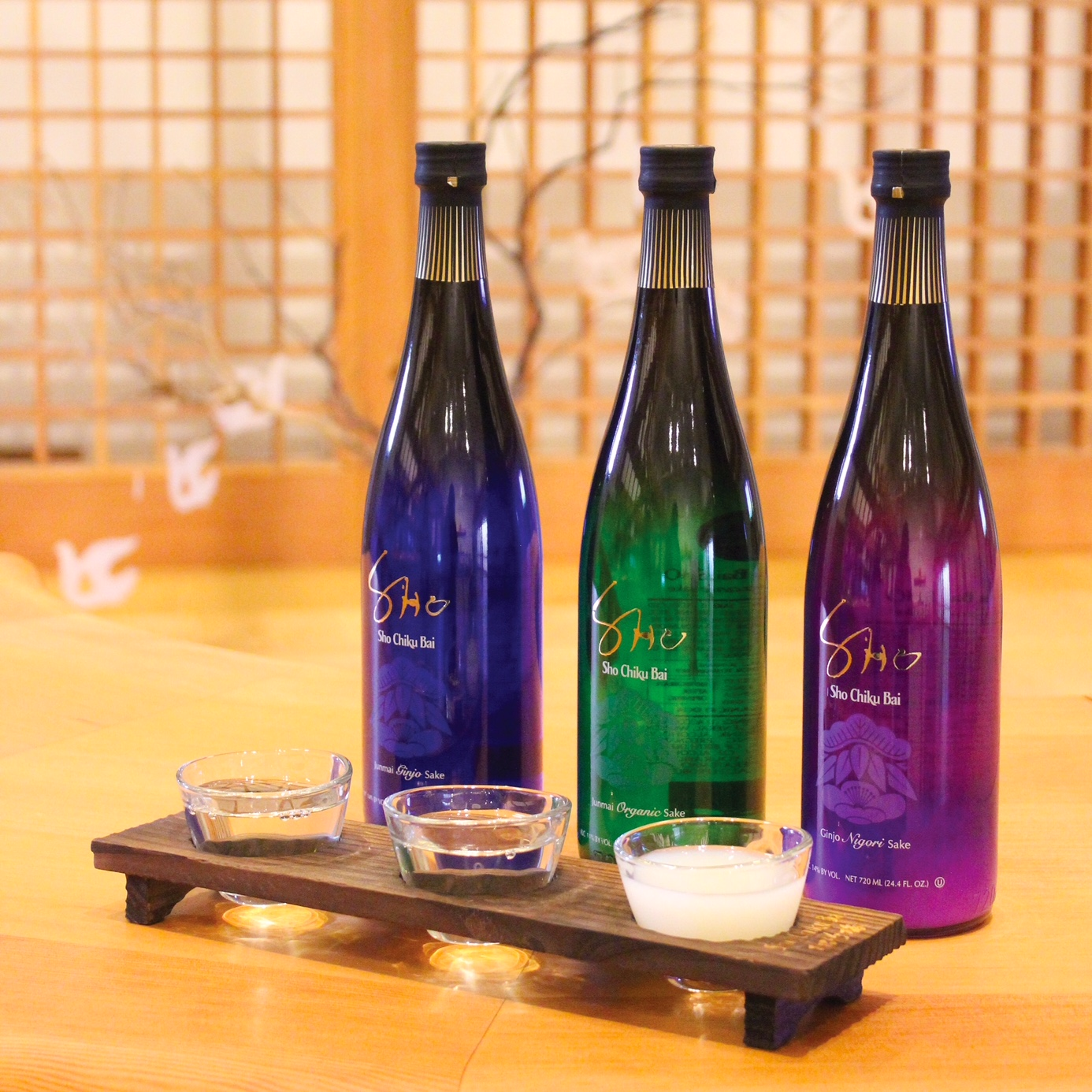 """SHO CHIKU BAI SHO Tasting Flight Set"" > 3 types of SHO and original 3 glass flight set MAIN"