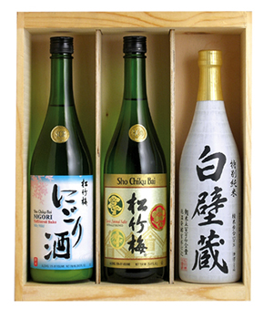 """Chilled or Warm?"" > SAKE SET B in wood box MAIN"