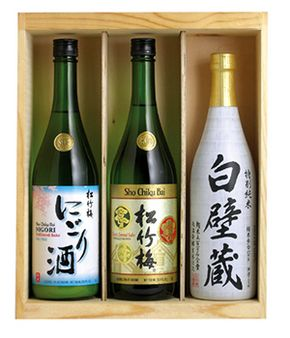 """Chilled or Warm?"" > SAKE SET B in wood box THUMBNAIL"