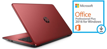"HP 15-BA083NR 15.6"" Touchscreen AMD A8 4GB Laptop PC with Microsoft Office Pro Plus 2016"