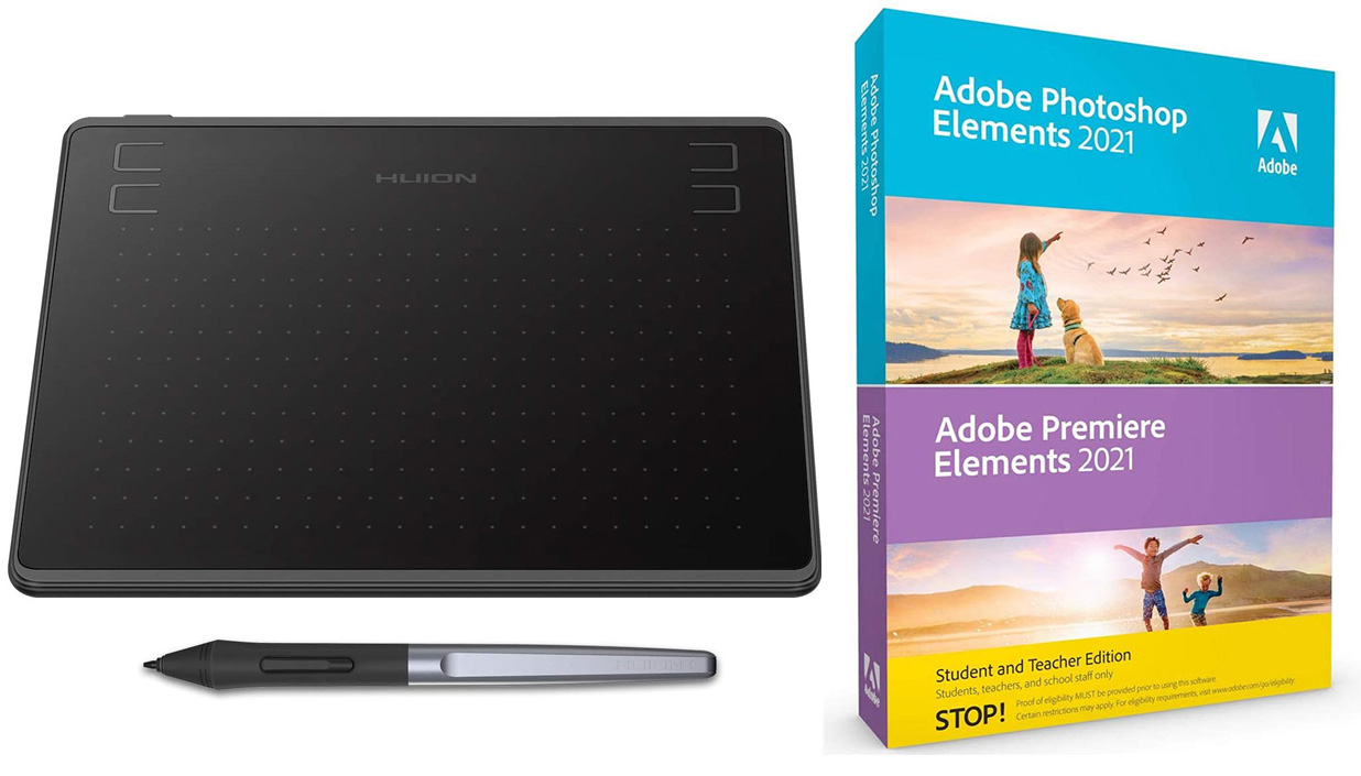 "Adobe Photoshop & Premiere Elements 2021 (DVD) w/Huion Ultrathin 6x4"" Graphics Pen Tablet - WIN/MAC LARGE"
