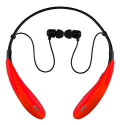 Supersonic IQ Sound IQ-127BT Bluetooth Wireless Headphones & Mic (Red) (While They Last!)