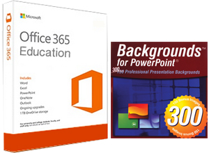 300 PowerPoint Backgrounds with FREE Microsoft Office 365 Education (Win/Mac) LARGE