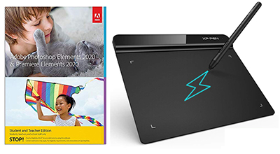 "Adobe Photoshop & Premiere Elements 2020 Student Ed. (DVD) with XP-Pen 6x4"" Design Tablet - WIN/MAC LARGE"
