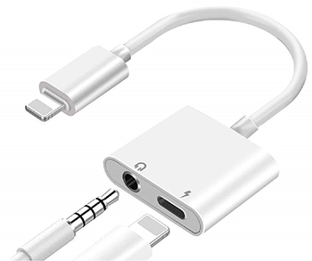 iPhone Splitter Cable - 1 Lightning Port and 1 AUX Port (Listen and Charge) - For 3.5mm Earbuds LARGE