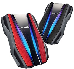 Adata 1TB USB 3.2 External Hard Drive with RGB Lighting & Game Console Support (2 Colors) (On Sale!) LARGE