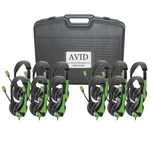Avid AE-36 On-Ear Headset with Mic (Classroom 12-Pack with Case) (Green)