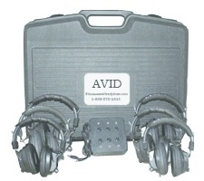 Avid AE-808 Over-Ear Headphones (Classroom 4-Pack with Jack Box & Case) (Black) LARGE