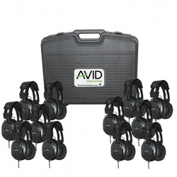 Avid AE-808 Over-Ear Headphones (Classroom 12-Pack with Case) (Black) LARGE