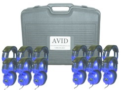 Avid AE-808 Over-Ear Headphones (Classroom 12-Pack with Case) (Blue)