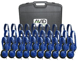 Avid AE-711 On-Ear Headphones (Classroom 30-Pack with Case) (Blue)_LARGE