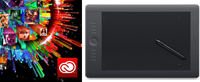 Adobe Creative Cloud (1 Year Sub - MAC/WIN) with Wacom Intuos Pro Touch Tablet - Medium FACULTY