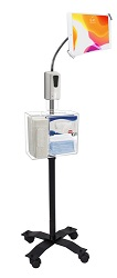 "CTA 58"" Compact Security Gooseneck Floor Stand for 7-13"" Tablets w/Sanitizing Station & Auto Soap LARGE"
