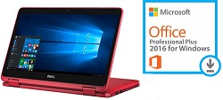 "Dell Inspiron 11 3168 Series 11.6"" Touchscreen Intel Celeron 2-in-1 Laptop w/MS Office 2016 (Red)"