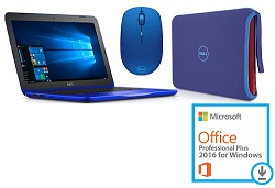 "Dell Inspiron 11 3162 Series 11.6"" Laptop Bundle with Microsoft Office Pro 2016 (Bali Blue)"