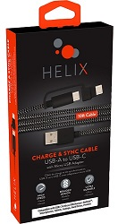 Emerge Helix 10-Foot 2-in-1 USB to USB-C Charge & Sync Cable w/Micro USB Adapter LARGE