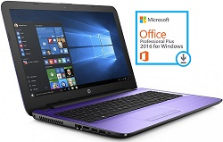 "HP 15-BA015DS 15.6"" AMD A6 4GB Laptop PC with Microsoft Office 2016 (Iris Purple)"