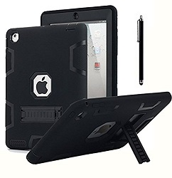AlCase Rugged 3-Layer Armor Full Body Case with Stylus for Apple iPad 2/3/4 (8 Colors) LARGE