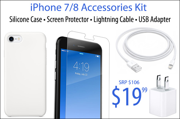 iPhone 7/8 Accessories Kit (Case/Screen Protector/Charging Cable & Adapter) - While Supples Last! LARGE