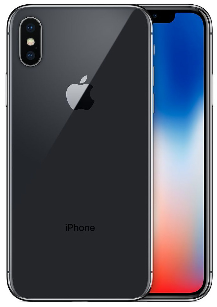 Apple iPhone X 64GB Space Grey - Fully Unlocked (Refurbished) w/Silicone Case LARGE