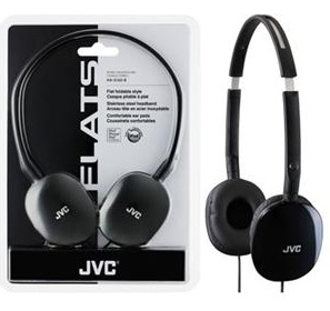 JVC HA-S160 FLATS Lightweight Headphones (Black)