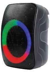NAXA Portable Wireless Bluetooth Speaker with Disco Lights & FM Tuner LARGE