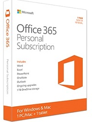 Microsoft Office 365 Personal Subscription (1-Year 1-Install) (Download)