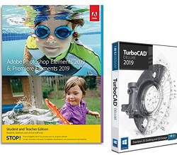 Adobe Photoshop Elements 2019 & Premiere Elements 2019 Student & Teacher w/TurboCAD Dlx (Download)_LARGE