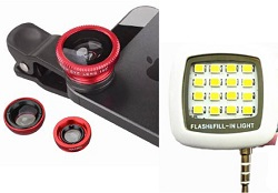 PoserSnap iPhone & SmartPhone Lens Set & Mini LED Photo Light