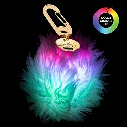 BUQU POWER POOF Purse Charm Power Bank with Lightning Cable (Multi-Color Glow)_LARGE