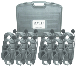 Avid SMB-25VC Noise Cancelling Over-Ear Lab Headset with Mic & Volume Control (Classroom 12-Pack)