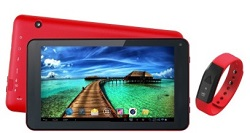 "Supersonic SC-6207 7"" Quad-Core Android 4.4 Tablet & Fitness Band Bundle (Red/Red)"