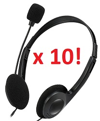 Adesso Xtream H4 Stereo Headphone/Headset with Microphone (Classroom 10-Pack) LARGE