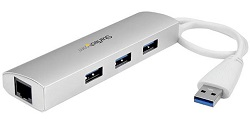 StarTech 3-Port Portable USB 3.0 Hub plus Gigabit Ethernet