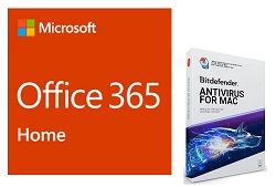 Microsoft 365 Family (5 Users) w/BitDefender AV for Mac - 1 Year Sub. (Download) LARGE